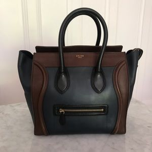 Celine mini luggage tricolor navy brown black